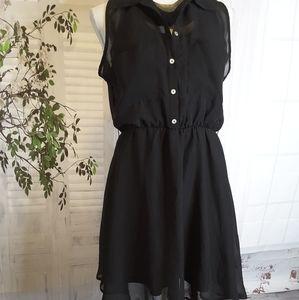 3/$30 Freebird black chiffon sleeveless dress L